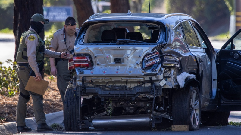 Tiger Woods was driving when he seriously injured on February 23, 2021 in Rolling Hills Estates, California. (David McNew/Getty Images)