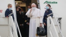 Pope Francis prepares to leave from Fiumicino's International airport Leonardo da Vinci, near Rome, for Baghdad, Iraq, Friday, March 5, 2021. (AP Photo/Gregorio Borgia).