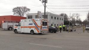 Lambton EMS on scene at a crash.
