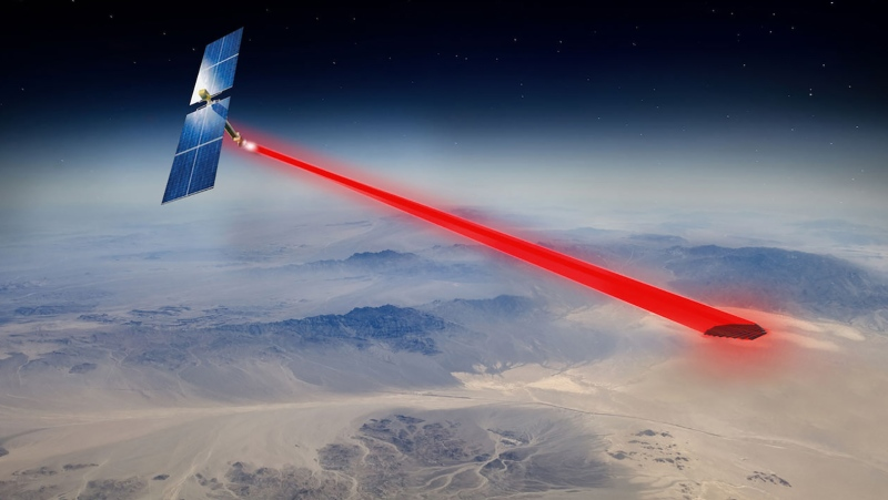 An artist's concept of a space-based solar power system beaming to military and remote installations. (Credit: U.S. Naval Research Laboratory)