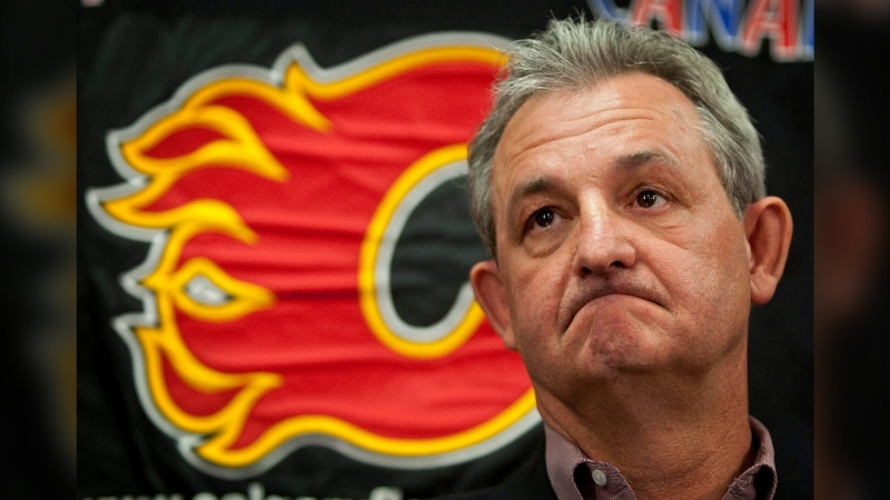 Calgary Flames' general manager Darryl Sutter addresses the media following the team's failure to make the playoffs, in Calgary, Monday, April 12, 2010.THE CANADIAN PRESS/Jeff McIntosh