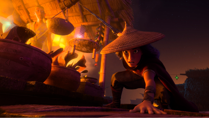 Animated character Raya, voiced by Kelly Marie Tran, appears in a scene from 'Raya and the Last Dragon.' (Disney+ via AP)