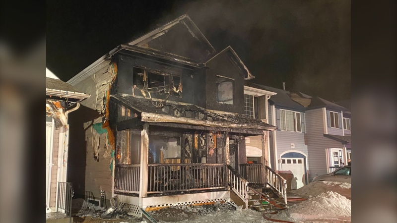 A home in Regina's Walsh Acres was significantly damaged in a fire on March. 5, 202. (@Regina_Fire/Twitter)