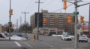 The area of Base Line Road and Wharncliffe Road in London, Ont. is  seen Friday, March 5, 2021. A flare gun was reportedly fired in the area on Wednesday. (Gerry Dewan / CTV News)