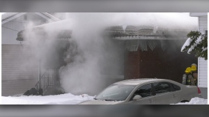 Fire at Dunn Avenue home in South Porcupine. March 5/21 (Lydia Chubak/CTV Northern Ontario)