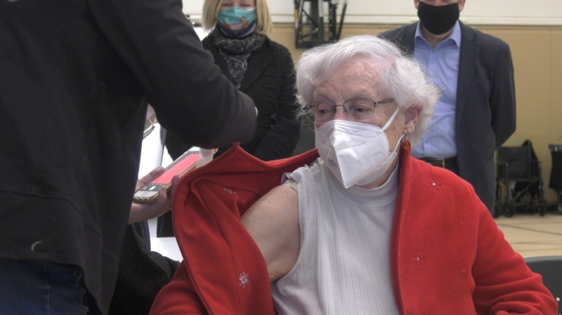 Norma O'Connor was one of the first residents in Ottawa's general population to receive a COVID-19 vaccine on Friday, March 5. (Colton Praill/CTV News Ottawa)