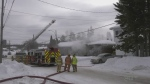 Timmins firefighters are at the scene of a house fire Friday morning, on Dunn Avenue in South Porcupine. March 5/21 (Lydia Chubak/CTV Northern Ontario)