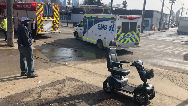A 67-year-old man was taken to hospital with non-life-threatening injuries after his scooter tipped over. (John Hanson/CTV News Edmonton)