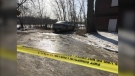 Winnipeg Police remain at the scene of an area near Alfred Avenue and Burrows Avenue on March 5, 2021, after human remains were discovered in the area Thursday evening. (CTV News Photo Ken Gabel)