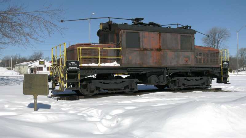Locomotive 17 sits at the corner of Ninth Street and Brookdale Avenue in Cornwall. (Nate Vandermeer/CTV News Ottawa)