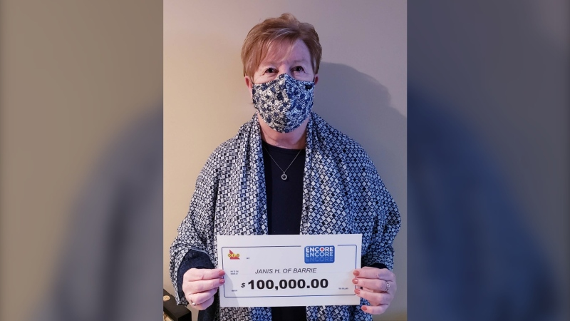 Janis Harwood, 66, of Barrie, wins $100,000 with her Encore numbers in the Dec. 25, 2020, Lotto Max draw. (OLG)