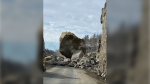 A rock mass with a volume of approximately 400 cubic metres is pictured on Highway 17A near Kenora, Ont. on March 4. The mass has since been removed. (Image courtesy: Ontario Ministry of Transportation)