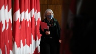 Minister of Health Patty Hajdu arrives for a news conference on the COVID-19 pandemic in Ottawa, on Friday, Dec. 4, 2020. THE CANADIAN PRESS/Justin Tang