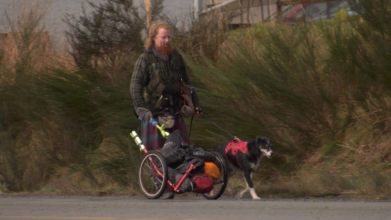 Michael Yellowlees started his fundraising journey across Canada in Tofino, British Columbia: March 5, 2021 (CTV News)