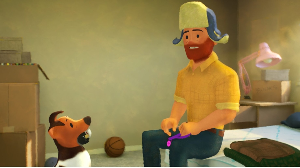 Still from animated short film 'Out' written and directed by Steven Hunter. (courtesy courtesy Pixar Animation Studio)