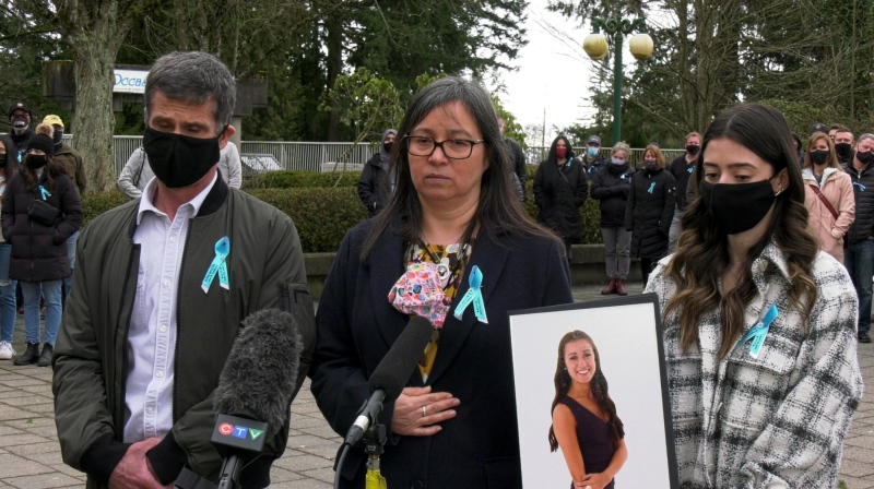The Malcom family outside the Surrey courthouse on March 5, 2021.