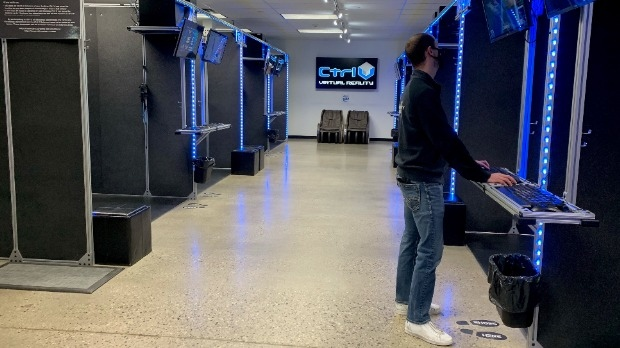 Josh Brooks at Ctrl V arcade in Waterloo Region (Natalie van Rooy / CTV News Kitchener)