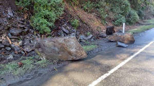 Traffic was stalled on the Malahat Friday due to rocks on the roadway: March 5, 2021 (CTV News)