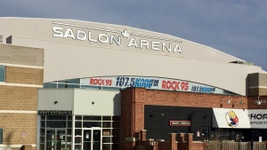 The home of the OHL's Barrie Colts is showing off its new name after the lettering was installed on Thursday, March 4, 2021 (Steve Mansbridge/CTV News)