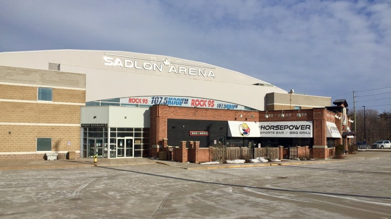 The entrance of the Sadlon Arena on Bayview Drive will be renamed  in honour of former Barrie Colts coach Dale Hawerchuk. (Barrie Molson Centre/ FILE)
