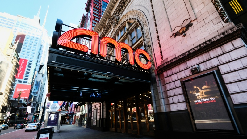 The AMC Empire 25 theatre appears on 42nd Street on May 13, 2020, in New York. Movie theaters in New York City reopen Friday. (Photo by Evan Agostini/Invision/AP, File)