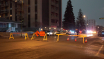 Saskatoon police investigate a serious stabbing in the 1400 block of 20th Street West on March 5, 2021 (Nicole Di Donato/CTV Saskatoon)