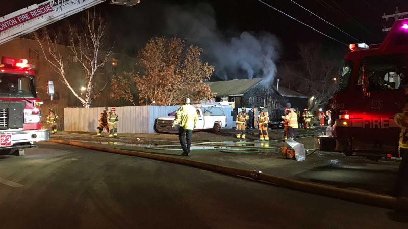 Fire broke out at a west Edmonton house on Friday evening. (Sean McClune/CTV News Edmonton)