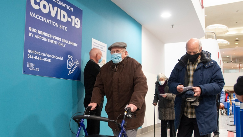 Seniors arrive for their shots at a COVID-19 vaccination clinic in Montreal, Friday, March 5, 2021. Vaccinations in Quebec have surpassed 500,000. THE CANADIAN PRESS/Ryan Remiorz