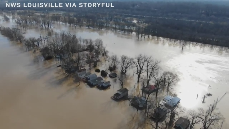 Drone footage of flooding in Louisville, Kentucky