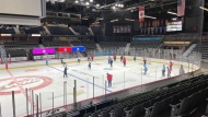 The Regina Pats practice at the Brandt Centre on Mar. 5, 2021. (@WHLPats/Twitter)