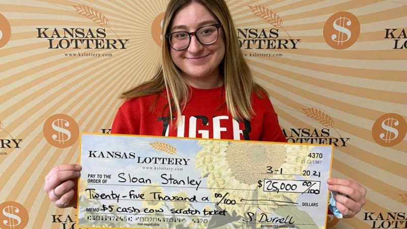 A high school senior has won $25K in her first time playing the Kansas Lottery, four days after turning 18; she hopes it will