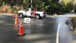 Sooke Road in Metchosin was closed Saturday morning after a targeted shooting overnight. (CTV)