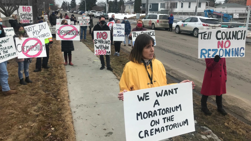 About 60 residents of Edmonton's Prince Rupert area demonstrate in opposition of the planned construction of a crematorium (Galen McDougall/CTV News)