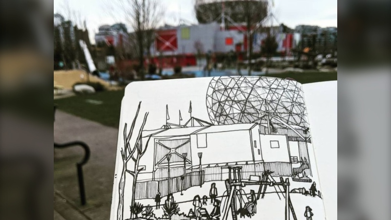 Artist Nishant Jain, a recent transplant from the U.S., is getting to know Vancouver through his art practice of sketching places and people in public and sharing the drawings on social media (@thesneakyartist/Instagram).