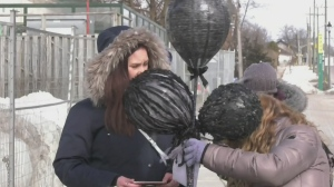 Volunteers in Barrie, Ont. on Black Balloon Day, Sat. March 6, 2021(Steve Mansbridge/CTV News)