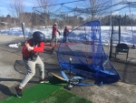 Members of the Central Ontario Reds brave the cold for outdoor practice on Sat. March 6, 2021 in New Lowell, Ont. (Steve Mansbridge/CTV News)