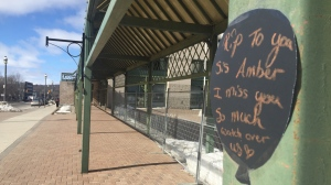 A message of remembrance outside city hall in Barrie, Ont. on Black Balloon Day, Sat. March 6, 2021(Steve Mansbridge/CTV News)