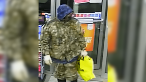 Sarnia police are looking for the public's assistance in finding a man who allegedly robbed a gas station with a handgun on Saturday, March 6, 2021 (Source: Sarnia Police Services)