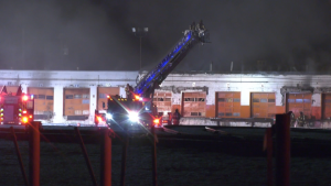 Firefighters were called to a blaze at the Canadian Pacific rail yard in Old Strathcona on March 6, 2021.