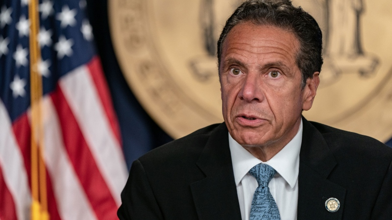 New York Gov. Andrew Cuomo is shown speaking at the Office of the Governor of the State of New York on July 23, 2020 in New York City. (Jeenah Moon/Getty Images)