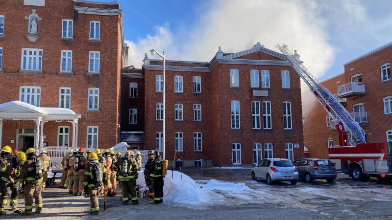 A fire at a seniors' residence in Rawdon, Quebec forced many residents out of their rooms as smoke billowed through the town north of Montreal. SOURCE: Municipality of Rawdon/Facebook
