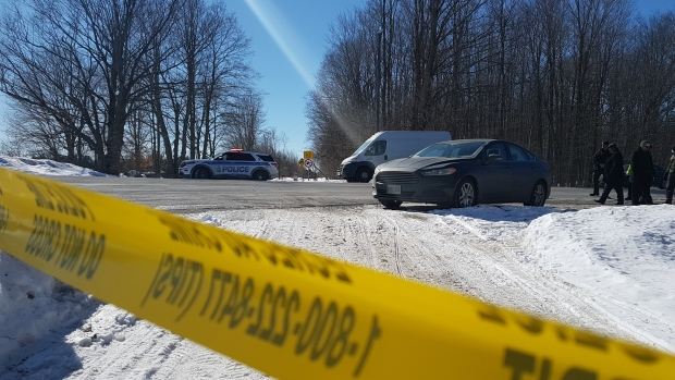 The Ottawa Police Homicide Unit is investigating after a body was discovered on a trail near Dobson Lane in south Ottawa. March 7, 2021. (Mike Mersereau / CTV News Ottawa)