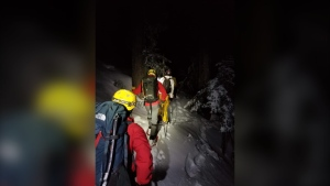 North Shore Rescue crews travelled into and out of Suicide Gully on Mt. Seymour to rescue a skier who got stuck in the steep and treacherous gully on March 6, 2021 (North Shore Rescue).
