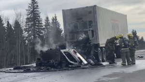A truck fire on Highway 1 west of Calgary caused a big traffic delay for drivers.