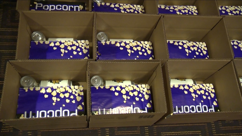 Concerts in a Box -- popcorn and cans
