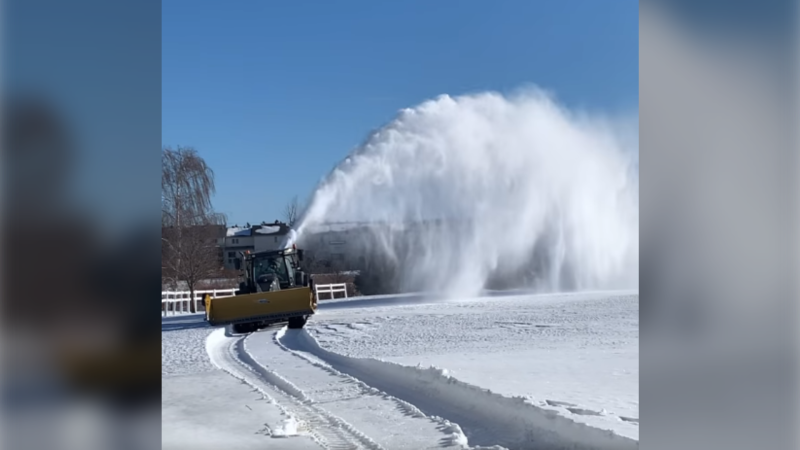 Snowblowers begin clearing the snow at the Kevin Haime Golf School in Ottawa. (Photo courtesy: Kevin Haime Golf School)