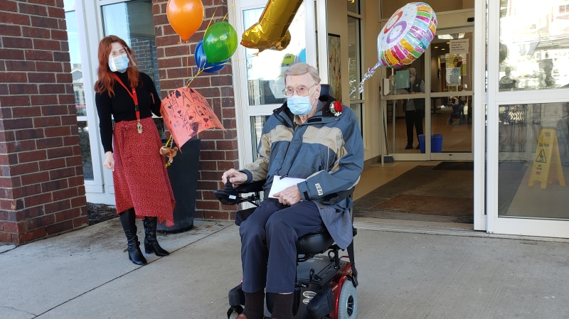 Charles Cox, a WWII veteran, celebrated his 100th birthday on Sunday. (Mick Favel / CTV News Regina)
