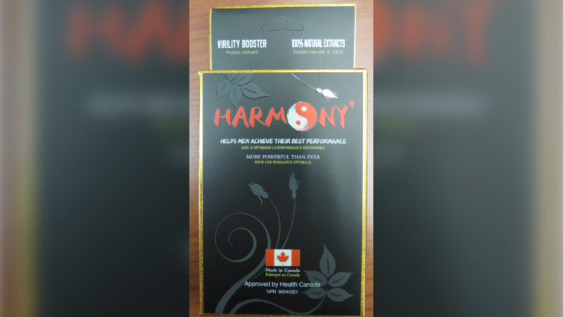 The package of an erectile enhancement supplement called 'Harmony.' The product, which was marketed as a herbal capsule, was found  to contain about three times the maximum daily dosage of tadalafil, according to a Health Canada advisory on March 5, 2021 (Supplied/Health Canada).