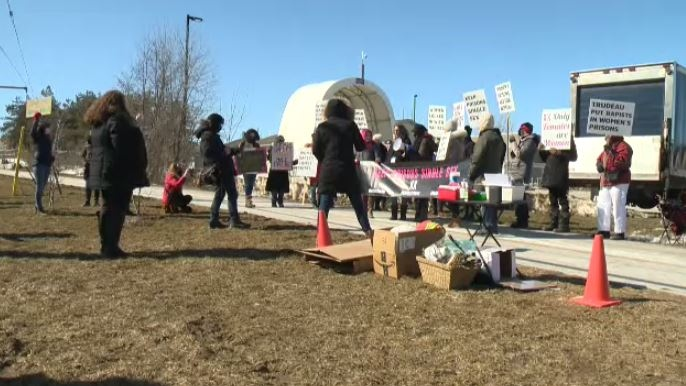 A demonstration was held outside of Grand Valley Institution by people wanting CSC's gender identity policies changed