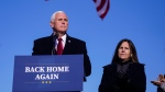 Former Vice President Mike Pence speaks after arriving back in his hometown of Columbus, Ind., Wednesday, Jan. 20, 2021. (AP Photo/Michael Conroy)